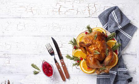 Baked turkey or chicken for Thanksgiving day festive dinner