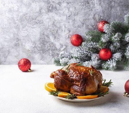 Baked turkey or chicken for Christmas festive dinner