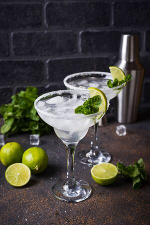 Traditional Margarita cocktail with lime and ice Zdjęcie Seryjne
