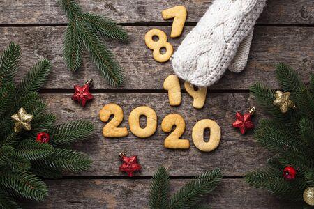 Gingerbread New Year cookies in shape of numbers 2020 Zdjęcie Seryjne