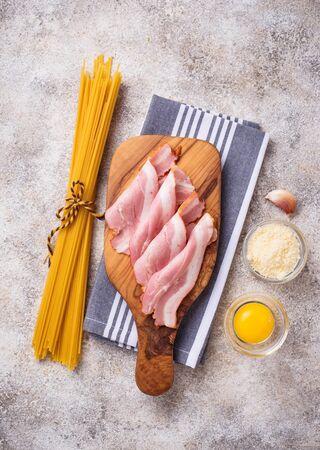 Ingredients for cooking pasta Carbonara. Top view