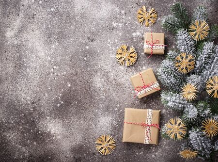Christmas gift boxes in craft paper 写真素材