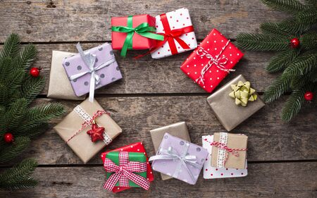 Christmas background with gift boxes 写真素材