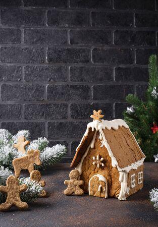 Christmas homemade gingerbread house 写真素材