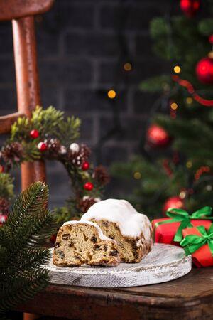 Traditional German Christmas cake stollen 写真素材