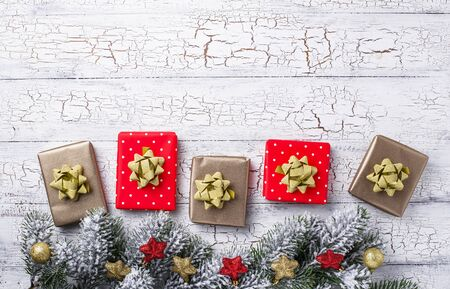 Christmas red and golden gift boxes 写真素材