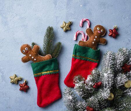 Felt gingerbread man in socks