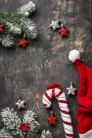 Christmas dark background with Santa hat 写真素材