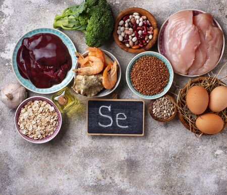 Healthy product sources of selenium. Standard-Bild - 134918252