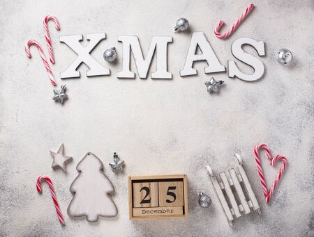 Christmas background with letters XMAS