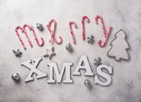 Christmas background with letters merry XMAS