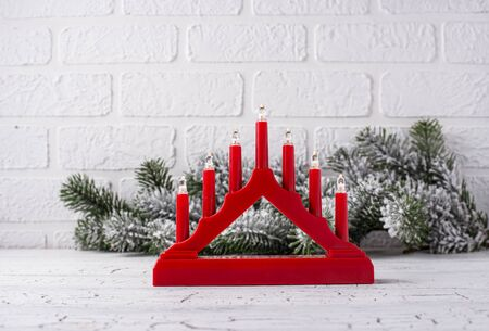 Traditional Swedish candlestick with seven candles