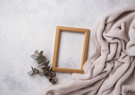 Wooden frame on light background