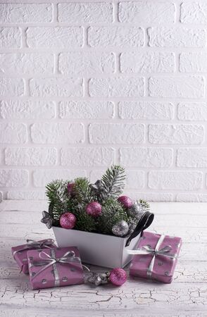 Christmas composition with pink decor