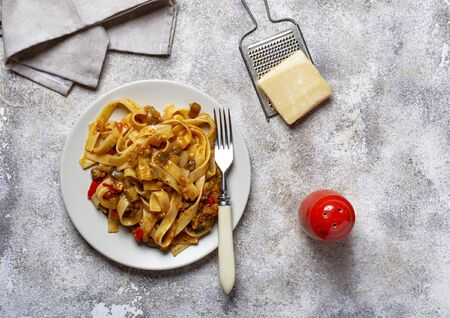 Pasta with eggplant and tomatoes 写真素材