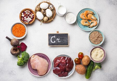 Natural products sources of chromium. Food containing Cr Standard-Bild - 134978669