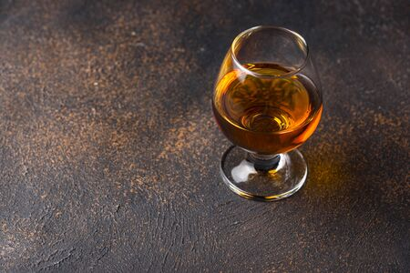 Glass of cognac or whiskey. Strong alcoholic drink