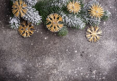 Christmas and New Year tree eco decor from straw