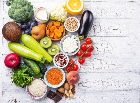 Productos con bajo índice glucémico. Concepto de comida sana