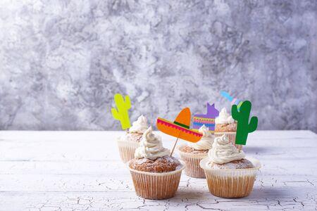 Cupcakes for celebrating Mexican fiesta or Cinco de mayo