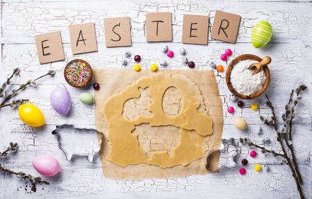 Gingerbread dough for cooking Easter cookies Reklamní fotografie