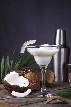 Coconut Margarita cocktail with ice cream. Tropical drink Banque d'images - 138555442