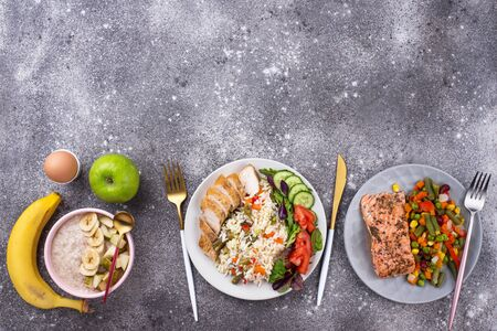 Healthy balanced menu concept for morning, day and evening Stock Photo