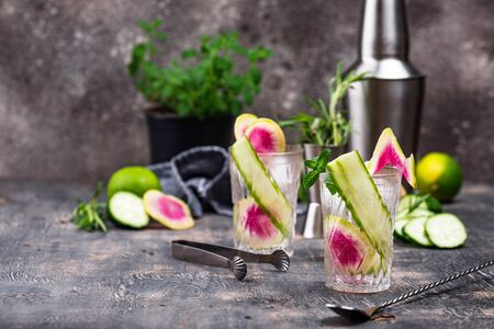 Cocktail with cucumber and radish. Selective focus