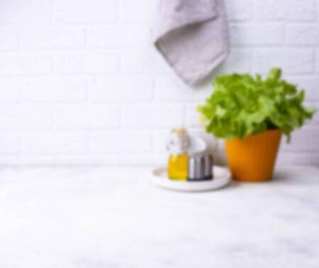 Defocused blurred modern kitchen background in light color Foto de archivo