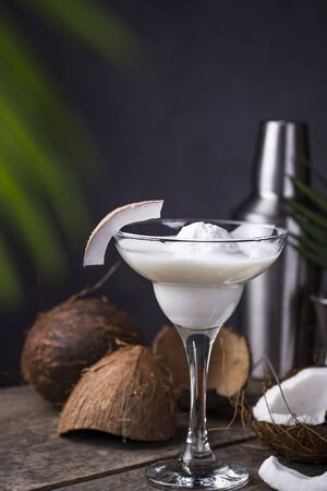 Coconut Margarita cocktail with ice cream. Tropical drink Imagens