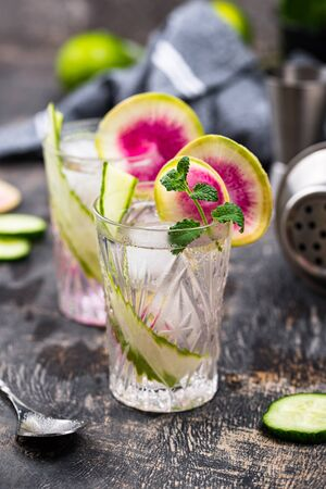 Cocktail with cucumber and radish. Selective focus Stok Fotoğraf