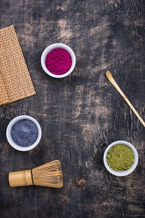 Green, blue and pink matcha powder for cooking trendy drink
