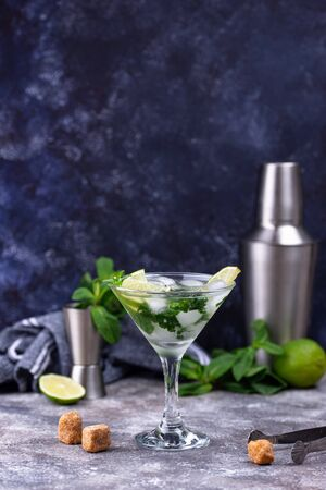 Martini cocktail with lime and mint. Banque d'images