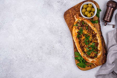Traditional Turkish pide with meat