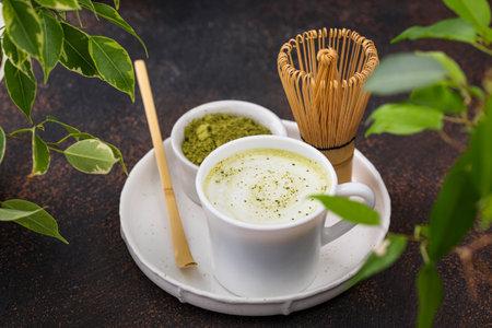 Green healthy matcha latte drink Reklamní fotografie