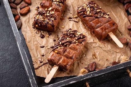 Chocolate ice cream with nut Stockfoto
