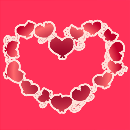 Shape of a heart in bright colors. There are silhouettes of cats inside the shape of a heart. It is a great idea for Valentines Day and Wedding card. This image is greate for printing on paper. Ilustração