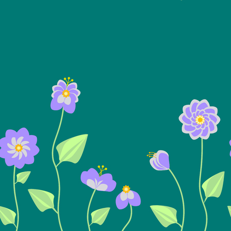Green palette with pastel purple flowers that are greatly combined in the seamless vector pattern.