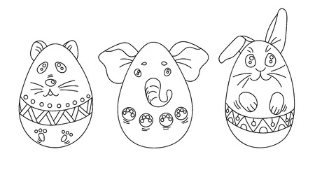 Cute Coloring Set with Easter Eggs in a Shape of Animals with Ornaments.