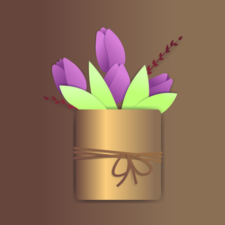 Purple tulips in a a golden flower pot with springs. The pot has a rope with a bow