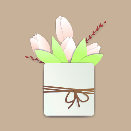 Square pot with tulip flowers and springs with a rope and a bow