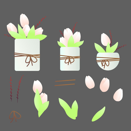 Set with tulip flowers and branches with buds in flower spots. Set also has tulip flowers and leaves, branches and ropes separately