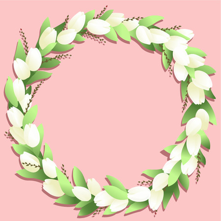 Circle frame with white tulips and springs on the pink background