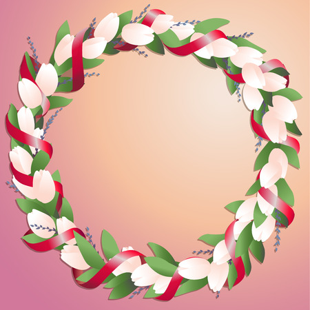 Wreath made from tulips and springs with bright red silk ribbon