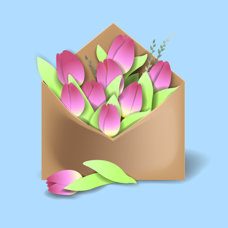 Tulips of pink color in the paper envelope with springs and one flower separately lying Illustration