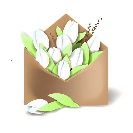 Tulips of white color in the paper envelope with springs and one flower separately lying Illustration