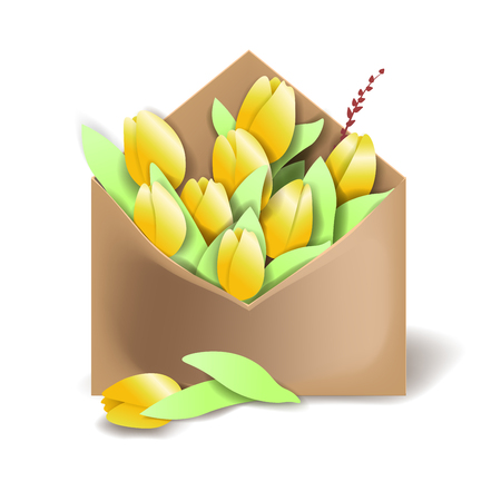 Tulips of yellow color in the paper envelope with springs and one flower separately lying