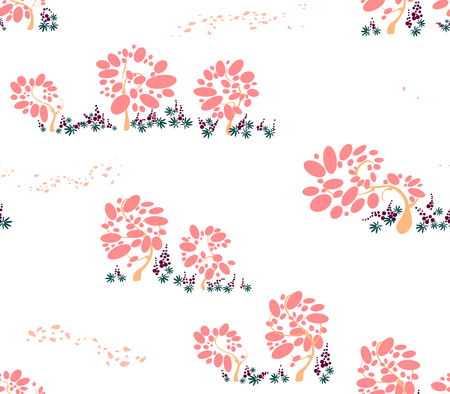 Seamless Pattern with trees of bubbles and fluing with the wing petals and lupins in pink colors