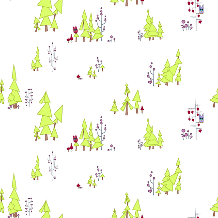 Seamless pattern. Fairy forest with owls and monsters.