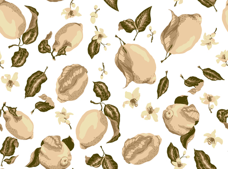 Sepia seamless pattern with lemon fruits and citrus blooming flowers Stock Illustratie